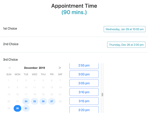Online booking form for client appointments