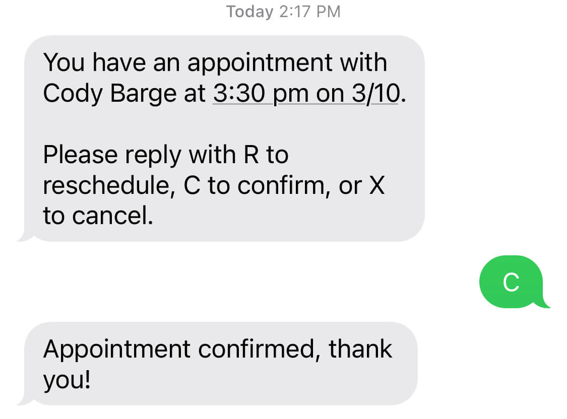 Confirmation text