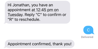 Appointment reminders get confirmed via mobile