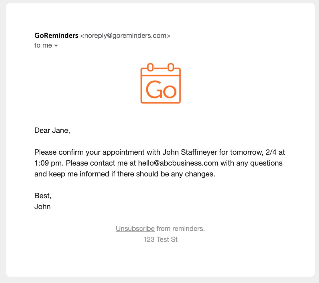 GoReminders email reminder template