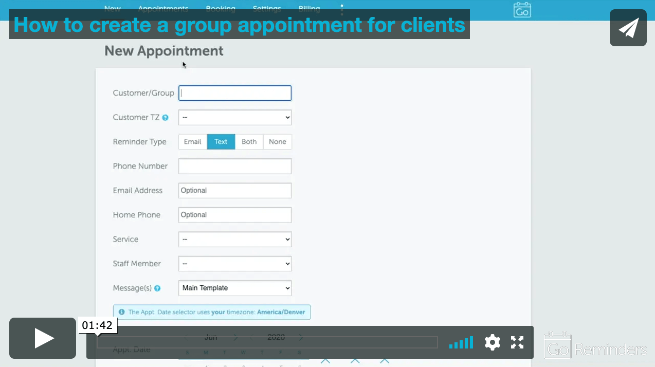 Creating group appointments is easy with GoReminders